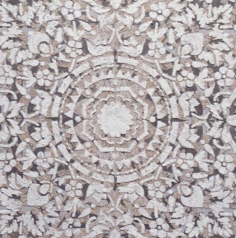 Eggshell Ash Mandala, Mixed Material Layered Texture Pattern in Grey and White For Sale 3