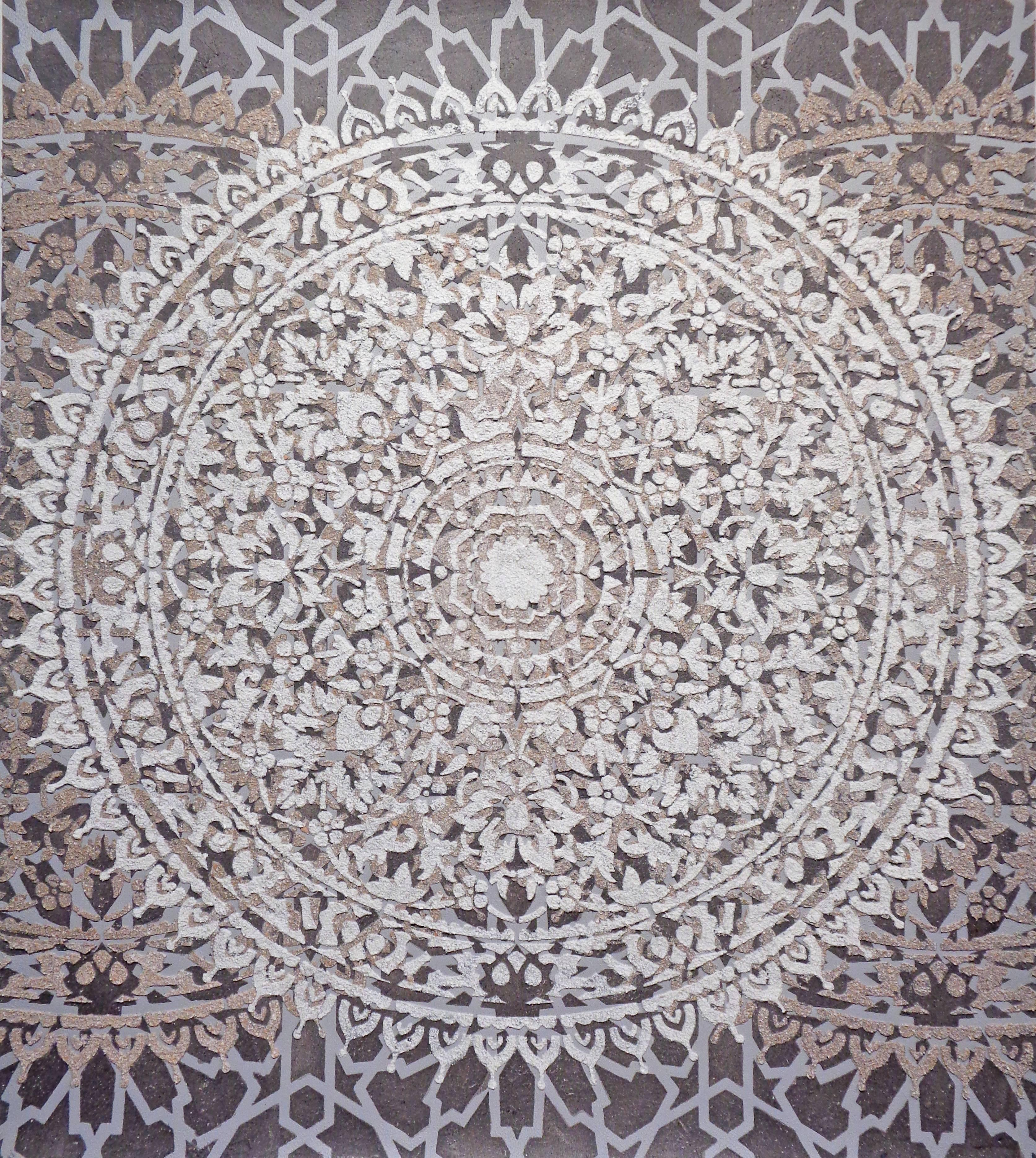 Eggshell Ash Mandala, Mixed Material Layered Texture Pattern in Grey and White