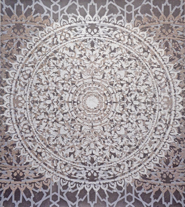 Eggshell Ash Mandala, Mixed Material Layered Texture Pattern in Grey and White - Mixed Media Art by Eleanor White