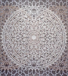 Eggshell Ash Mandala, Mixed Material Texture Layered Pattern in Grey and White