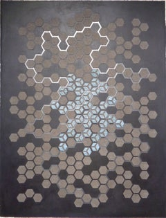 Emu Ash Honeycomb, Layered Pattern in Blue Grey, White and Brown on Black Paper
