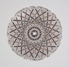 Graph Mandala Nine, Abstract Patterned Circle in Beige, Gray, White and Brown