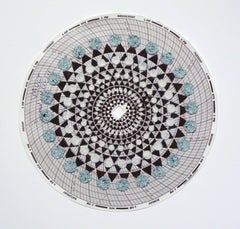 Graph Mandala Twelve, Abstract Patterned Circle in Blue, White and Brown