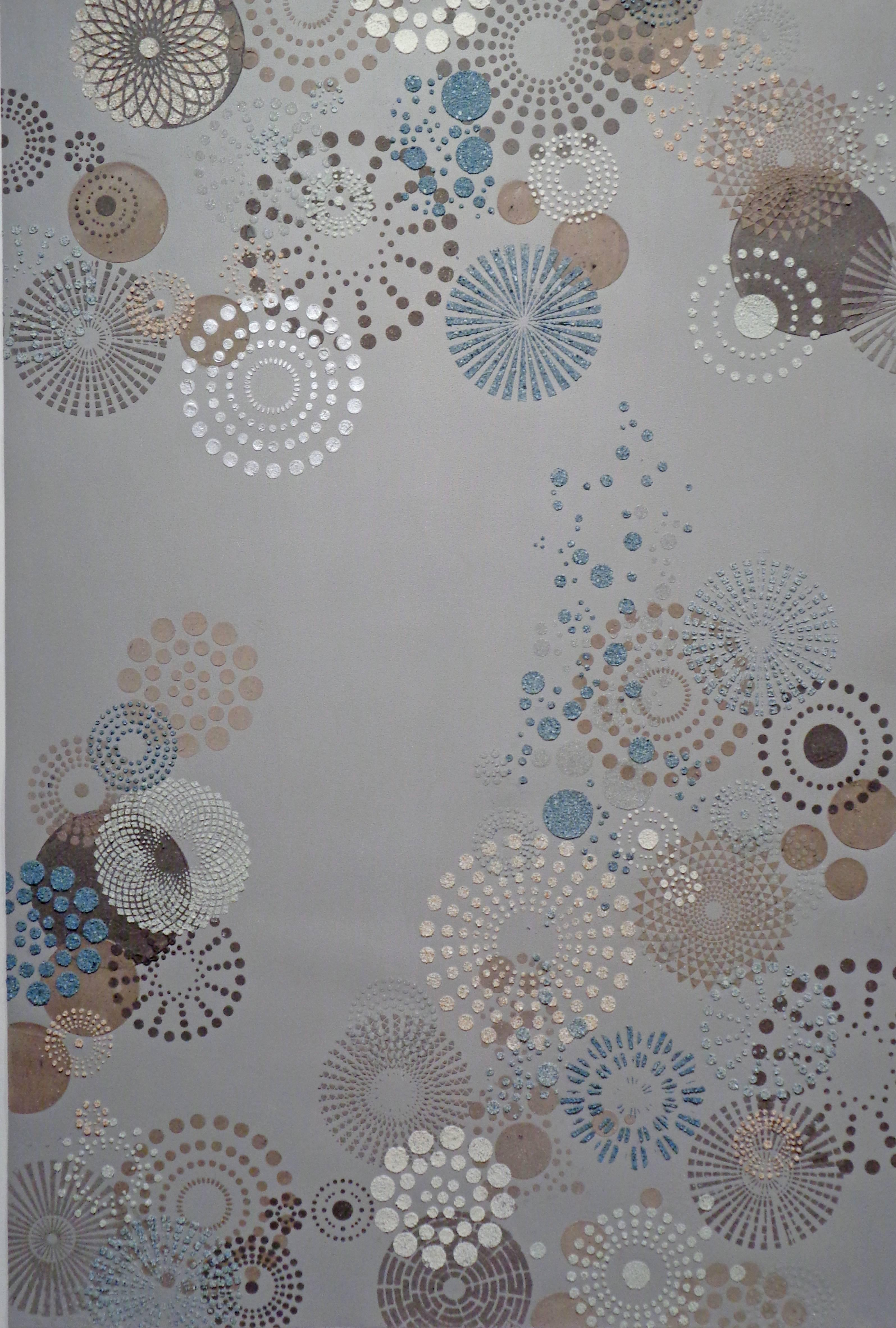 Grey Multi Dot Large, Eggshell, Glass Beads in Circle Pattern in Grey Blue White