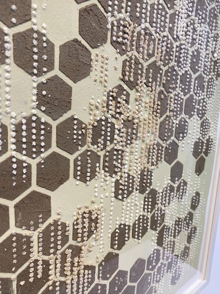 Honey Comb, Eggshell, Mixed Material, Dot Pattern in Brown, White on Cream Paper For Sale 2