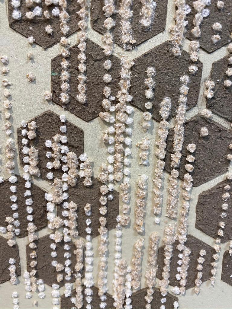 Honey Comb, Eggshell, Mixed Material, Dot Pattern in Brown, White on Cream Paper For Sale 3