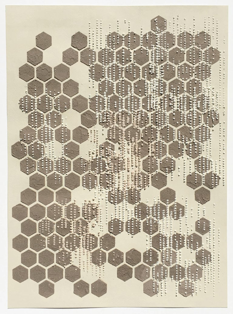 Honey Comb, Eggshell, Mixed Material, Dot Pattern in Brown, White on Cream Paper - Mixed Media Art by Eleanor White