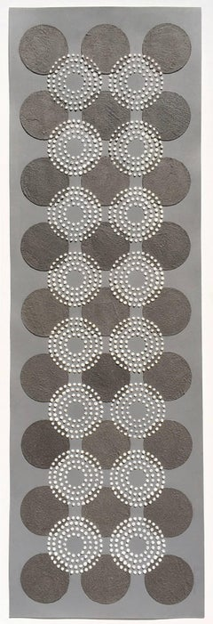 Untitled Black White Dots, Contemporary Artwork with Eggshell, Ash on Gray Paper