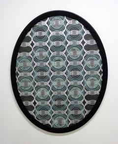 Untitled Large Oval, Mixed Material on Paper in Blue, Silver and Brown Pattern