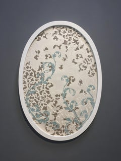 Untitled Small Oval, Mixed Material on Paper in Blue and Ivory Baroque Pattern