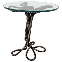 Electra Cast Bronze Rope Tempered Glass Coffee Table by Allegra Hicks