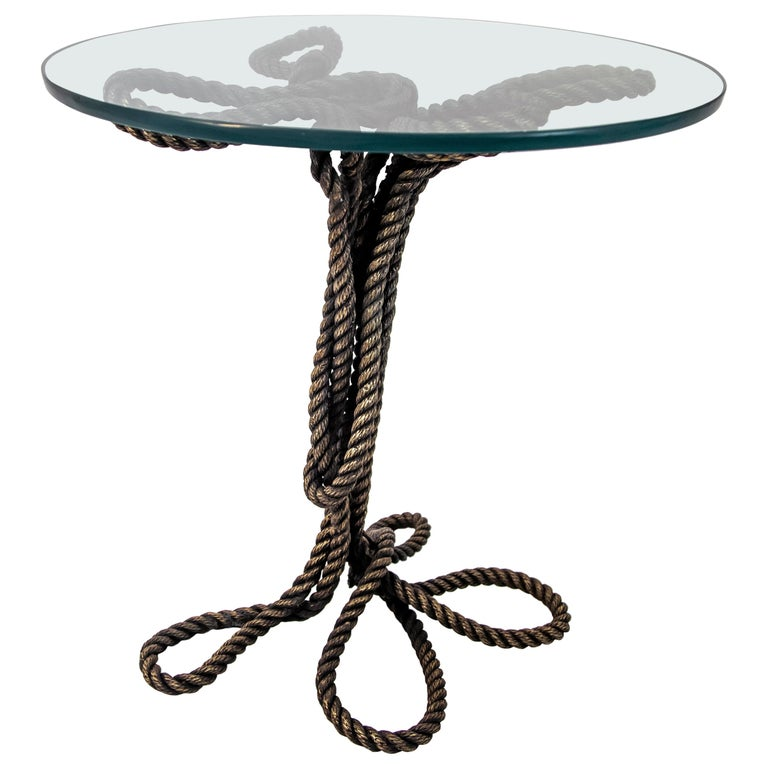 Electra Cast Bronze Rope Tempered Glass Coffee Table by Allegra Hicks For Sale