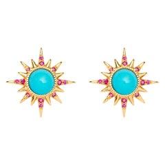 Electra Earrings, Turquoise, Rubies, 18 Karat Yellow Gold