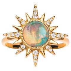 Electra Maxima Ring, Ethiopian opal, White Diamonds, 18 Karat Rose Gold