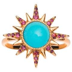 Electra Maxima Ring, Turquoise, Rubies, 18 Karat Rose Gold
