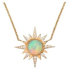 Electra Necklace, Ethiopian Opal, White Diamonds, 18 Karat Rose Gold
