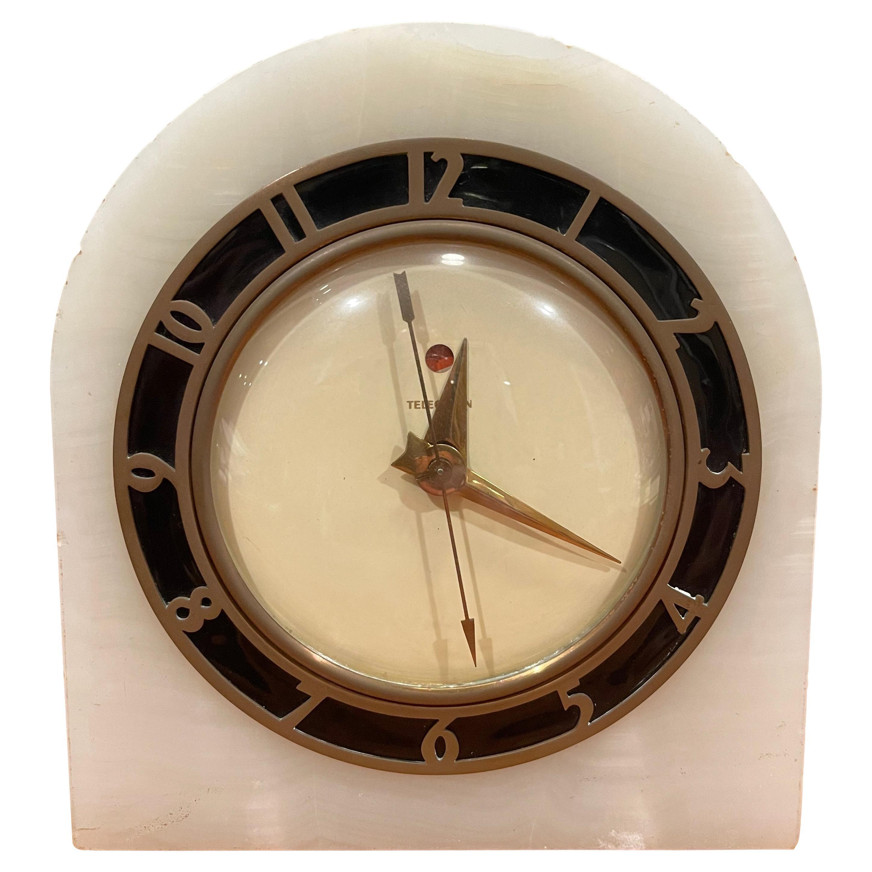 Electric Art Deco White Onyx Mantle Clock by Telechron