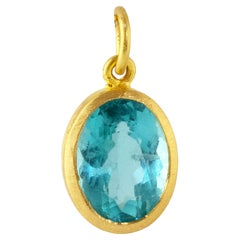 Ico & the Bird Electric Blue Apatite Pendant in 22k Gold