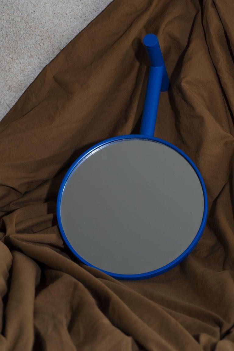 Scandinavian Modern Electric Blue Birch Wood Paddle Mirror For Sale