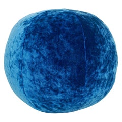 Electric Blue Crushed Velvet Ball Pillow