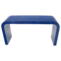 Electric Blue Faux Snake Skin C-Shape Console Sofa Table