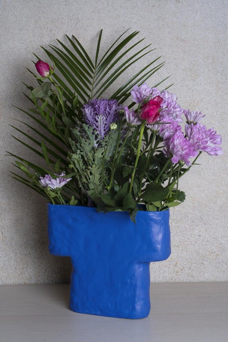 Finnish Electric Blue Porcelain Pillar Vase For Sale