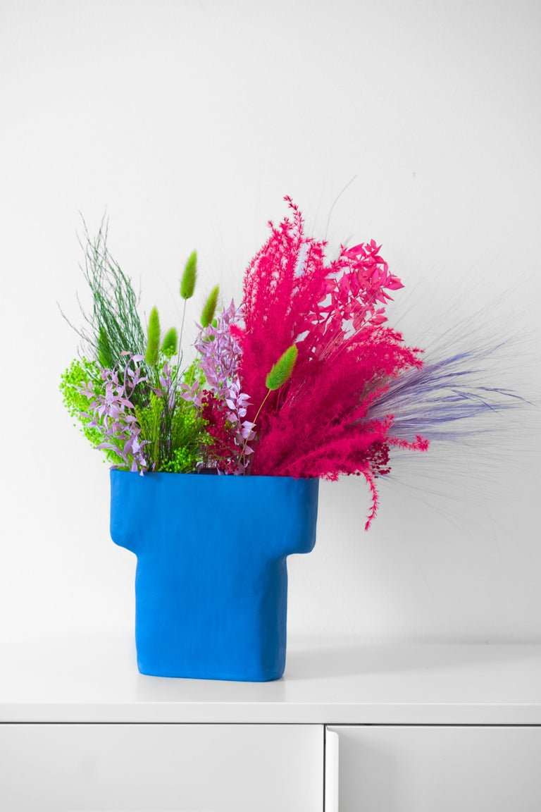Scandinavian Modern Electric Blue Porcelain Pillar Vase For Sale