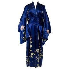 Electric Blue Satin Japanese Kimono Circa 1920/1940