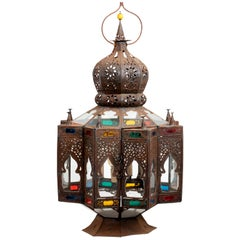 Electrified Tin and Stained Glass Moroccan Lantern