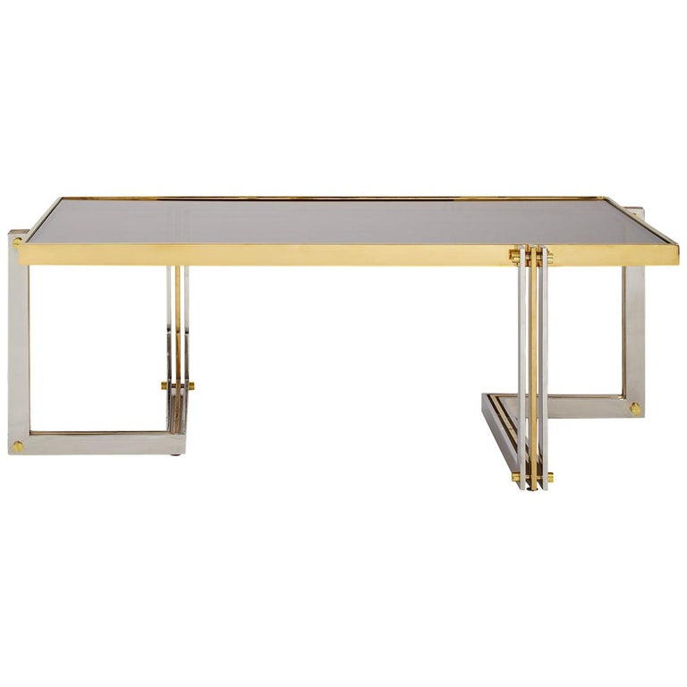 Electrum Polished Nickel And Brass Cocktail Table For Sale