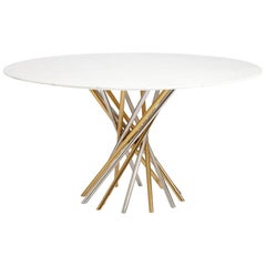 Electrum White Marble and Mixed Metal Dining Table