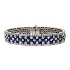 Elegant 14 Karat Gold Diamond Sapphire Bracelet 13.68 Carat Heavy 60 Grams