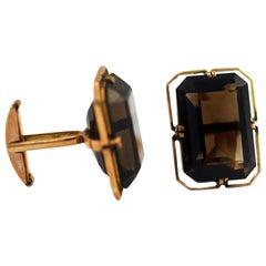 Elegant 14 Karat Gold Emerald Cut Beautiful Smoky Quartz Cufflinks Vintage