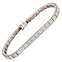 Elegant 14 Karat White Gold Diamond Block Bracelet