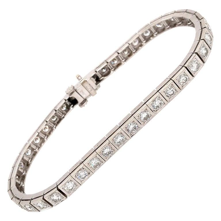 Elegant 14 Karat White Gold Diamond Block Bracelet For Sale