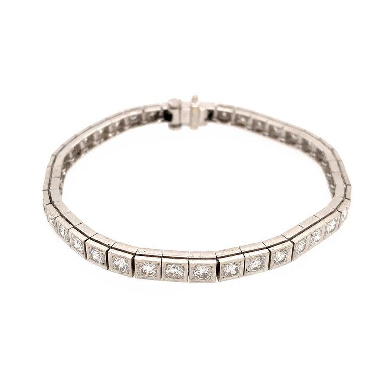 Women's Elegant 14 Karat White Gold Diamond Block Bracelet For Sale