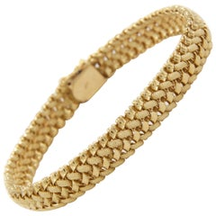 "Elegant 14k Yellow Gold Woven 7 1/4"" Bracelet by POM circa 1960s"