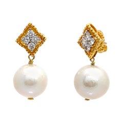 Elegant 15mm Cultured Pearl Drop Earrings