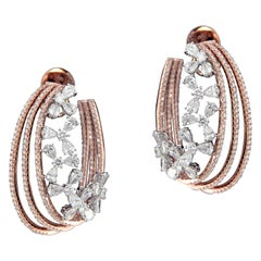 Elegant 18 Karat White and Pink Gold and Diamond Earring