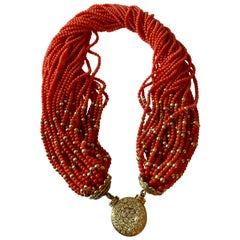 Elegant 18 Karat Yellow Gold Coral Tassel Torsade with Diamond Clasp Necklace