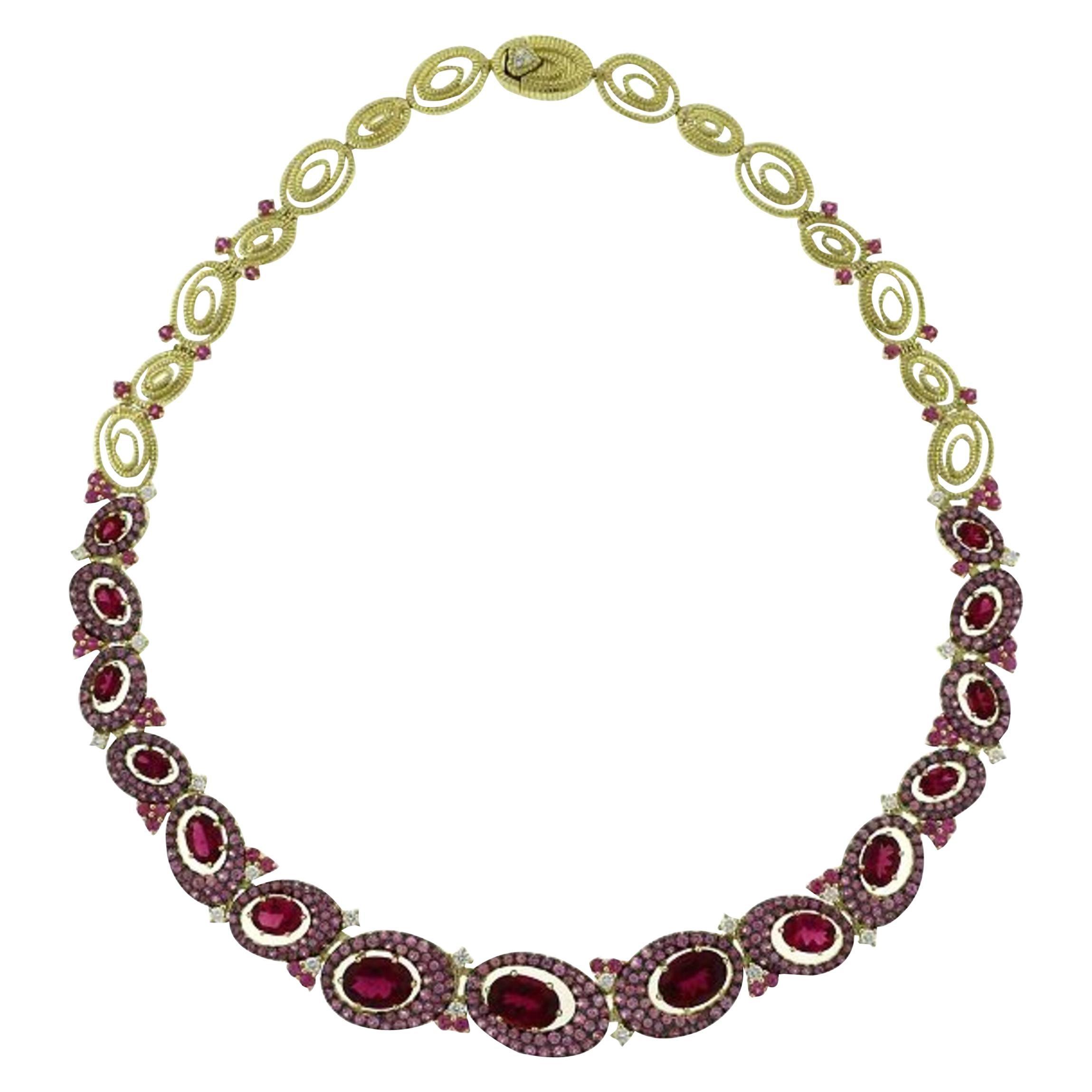 Elegant 18 Karat Yellow Gold, Pink Sapphire, Rubellite and Diamond Necklace