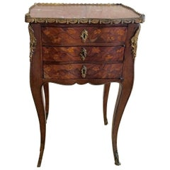Elegant 18th Century French Louis XV Marquetry Side Table