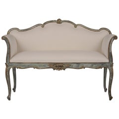 Elegant 1900s French Antique Gilt Painted Settee / Bench in Louis XV Style