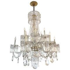 Elegant 1920s 12-Light Baccarat Crystal Chandelier