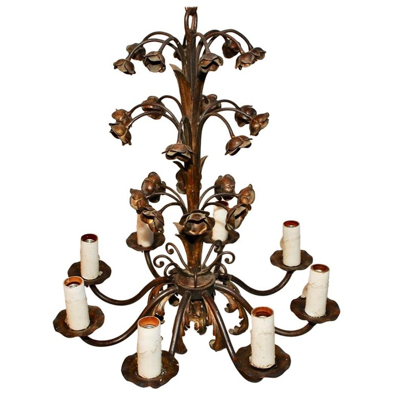 Elegant 1920s Wrought Iron Chandelier For Sale