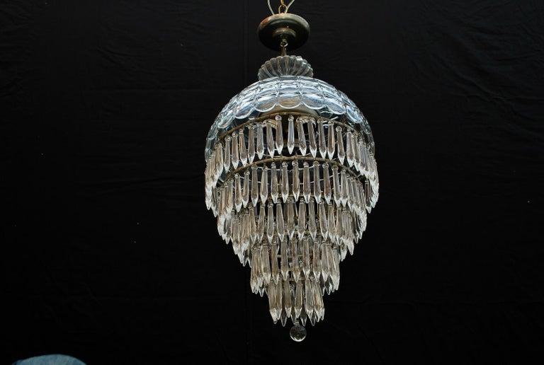 North American Elegant 1940s Crystal Light For Sale