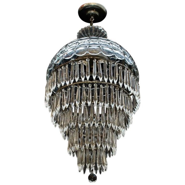 Elegant 1940s Crystal Light For Sale