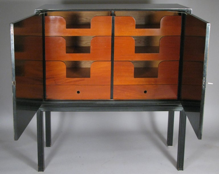 Mid-20th Century Lacquered 1940's Leather Cabinet by Tommi Parzinger