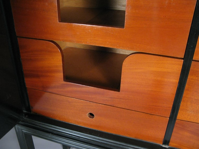 Mahogany Lacquered 1940's Leather Cabinet by Tommi Parzinger