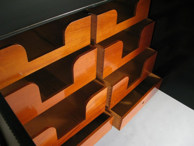 Lacquered 1940's Leather Cabinet by Tommi Parzinger 1